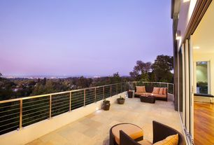 Modern Deck with Outdoor seating, exterior slate tile floors
