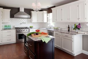 Contemporary Kitchen with Pendant light, Large Ceramic Tile, Simple granite counters, Flat panel cabinets, Kitchen island