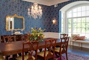 Traditional Dining Room with interior wallpaper, Wall sconce, Sterling Industries Capetian Mirror Mirror in Gold Leaf