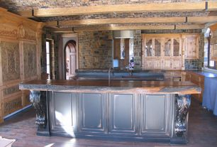 Traditional Kitchen with full backsplash, Standard height, Kitchen island, Flush, Slate, U-shaped, built-in microwave