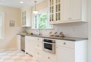 Traditional Kitchen with Glass panel, wall oven, Standard height, Subway Tile, Paint 1, Stainless steel microwave drawer