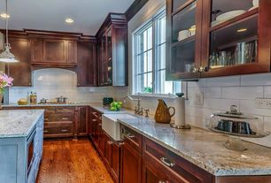 Traditional Kitchen with full backsplash, Custom hood, Standard height, Flush, L-shaped, Subway Tile, can lights, Glass panel