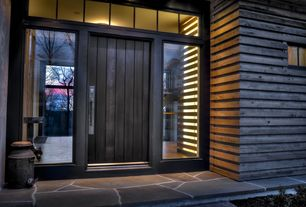 Contemporary Front Door with Pathway, exterior stone floors, Transom window