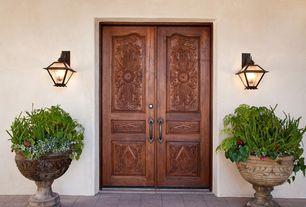 Mediterranean Front Door with exterior tile floors, Doors 4 Home - Double Door, Mahogany with Hand Carved Panels