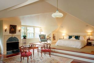 Traditional Master Bedroom with Pendant light, Wainscotting, Laminate floors, Built-in bookshelf, Fireplace, High ceiling