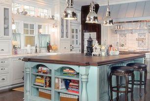 Country Kitchen with L-shaped, Restoration hardware benson pendant - polished nickel, Custom hood, Pendant light, Glass panel