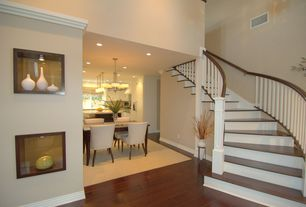 Traditional Staircase with Safavieh becca side chair, Art niche, Laminate floors, High ceiling, curved staircase, Paint 1
