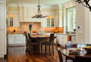 Traditional Kitchen with ann sacks Tiempo E Trim, Crown molding, Breakfast nook, Simple granite counters, Flat panel cabinets