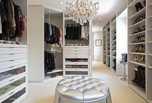 Contemporary Closet with Carpet, Chandelier, High ceiling, Rev-A-Shelf Spiral Clothes Rack for Closet