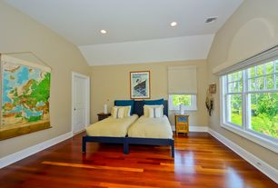 Contemporary Guest Bedroom with specialty door, Hardwood floors, High ceiling, double-hung window, can lights