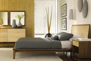 Contemporary Master Bedroom with City Storage Nightstand - Walnut, Hardwood floors, Pendant light, Large Metal Cone Pendant