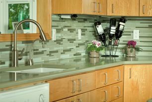 Contemporary Kitchen with Supreme Glass Tiles Multi Mosaic Green Summer, Instant hot water dispenser, single handle