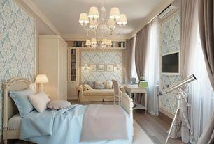 Traditional Guest Bedroom with interior wallpaper, Crown molding, Chandelier, Hardwood floors, Built-in bookshelf, Art desk