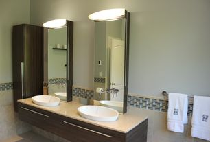 Contemporary Master Bathroom with Oregon Tile & Marble Travertine in Turkish Ivory, Ritter Vessel Sink