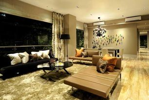 Contemporary Living Room with onyx tile floors