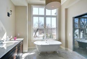 Country Master Bathroom with Wall sconce, Sea Gull Lighting Burnt Sienna Dayna 3 Light Drum Pendant, Paint, Bathtub, Shower
