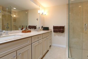 Traditional Full Bathroom with Limestone, Undermount sink, frameless showerdoor, Wall sconce, Limestone counters, Full Bath
