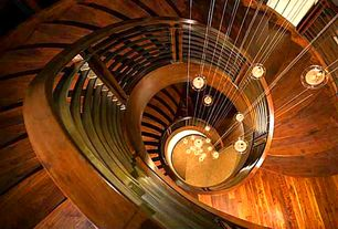 Contemporary Staircase with Pendant light, Hardwood floors