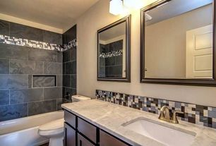 Contemporary Full Bathroom with tiled wall showerbath, Undermount sink, specialty door, Complex marble counters, Ceramic Tile