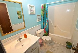 Traditional Kids Bathroom with Printfinders Wall Mirror, Kids bathroom, Undermount sink, Flush, Corian counters, Wainscotting