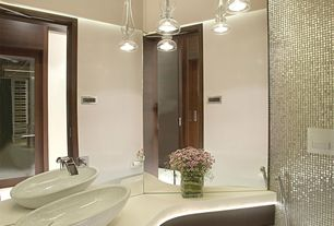 Modern Full Bathroom with Vessel sink, Corian counters, High ceiling, Powder room, Pendant light