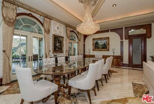 Traditional Dining Room with Transom window, Chandelier, French doors, simple marble floors, Crown molding