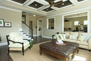 Traditional Living Room with Hardwood floors, Box ceiling, Ceiling fan, Crown molding