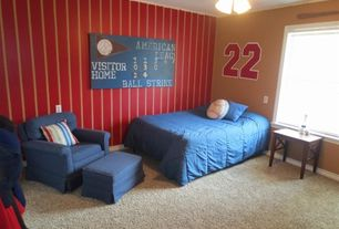 Traditional Kids Bedroom with Paint 2, double-hung window, Carpet, Crown molding, no bedroom feature, Standard height