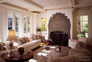 Traditional Living Room with Fireplace, French doors, Box ceiling, insert fireplace, flush light, Crown molding, Casement