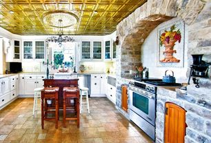 Country Kitchen with Stone Tile, Casement, dishwasher, Standard height, U-shaped, Chandelier, slate tile floors, Glass panel