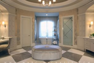 Traditional Master Bathroom with Driscoll 1-light etched glass shade wall/ bath sconce, Arched window, Bathtub, Wall sconce