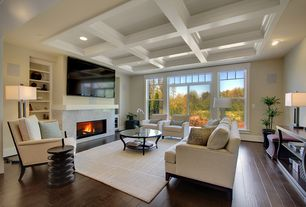 Contemporary Living Room with Hardwood floors, Built-in bookshelf, Cement fireplace, Duncan antiqued silver floor lamp