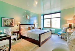 Modern Master Bedroom with Standard height, Carpet, Target wire capiz sunburst wall mirror, Casement, bedroom reading light