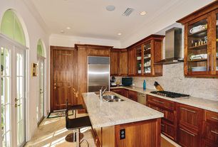 Contemporary Kitchen with Standard height, MS International Ivory Fantasy Granite, can lights, Crown molding, full backsplash