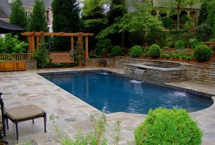 Traditional Swimming Pool with Fountain, Raised beds, Trellis, Oyster Slate Classic Pool Deck - Versailles Pattern, Pond