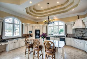 Traditional Kitchen with Arched window, Complex granite counters, Ceramic Tile, two dishwashers, Custom hood, Kitchen island