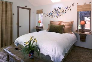 Asian Master Bedroom with flush light, Butterflies Wall Charms, Carpet, Stein World Twist Candlestick Table Lamp