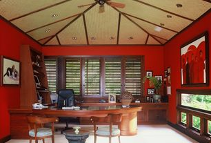 Tropical Home Office with Ceiling fan, Carpet, Built-in bookshelf, Exposed beam