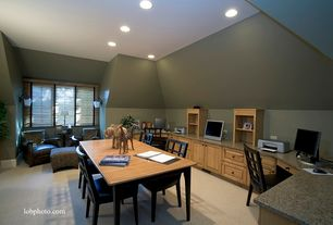 Contemporary Home Office with Built-in bookshelf, Wall sconce, Carpet