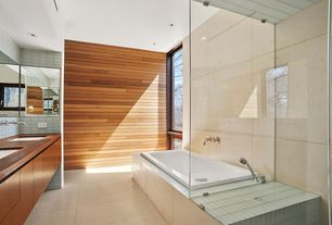 Contemporary Master Bathroom with European Cabinets, Bathtub, Shower, picture window, Standard height, stone tile floors