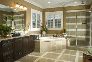 Contemporary Master Bathroom with Limestone counters, Flush, Undermount sink, limestone tile floors, Crown molding