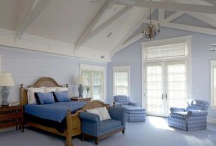 Country Master Bedroom with High ceiling, specialty door, Aztec Lighting Transitional 5-light Chandelier, Carpet, Chandelier