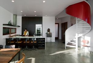 Contemporary Great Room with Stained concrete floor, Paint, Floating shelf, Bar stool, Breakfast bar, Spiral staircase