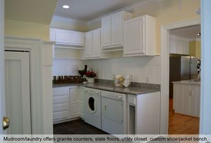 Traditional Laundry Room with Allen + Roth Coho Quartz Kitchen Countertop, soapstone tile floors, Undermount sink