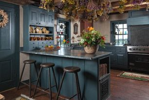 Country Kitchen with Farmhouse sink, gas range, Inset cabinets, Standard height, specialty door, Breakfast bar, Custom hood