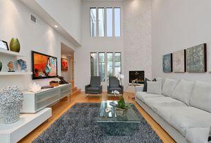 Contemporary Living Room with Sunken living room, Hardwood floors, Built-in bookshelf, Fireplace, can lights, High ceiling