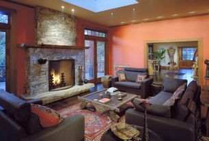 Rustic Living Room with Fireplace, Skylight, Hardwood floors, French doors, Wood mantel, Paint, can lights, Standard height