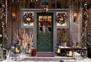 Country Front Door with Richmond outdoor hanging lantern, Pathway, Malta lanterns - bronze finish, exterior tile floors