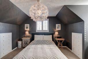 Contemporary Guest Bedroom with Carpet, Built-in bookshelf, Ikea maskros pendant lamp, Chandelier