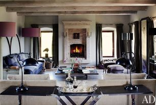 Contemporary Living Room with Hardwood floors, Exposed beam, stone fireplace